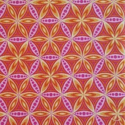 Orange blomstermønster i pink cirkler20161227_112735