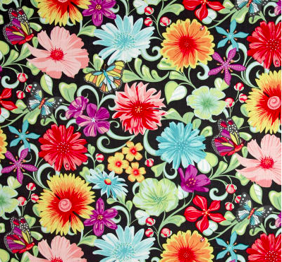 Contempo Meadow Dance Wildflowers Grey/Multi Fabric