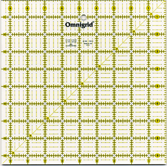 Omnigrid Ruler 9 1/2in Square # OG95